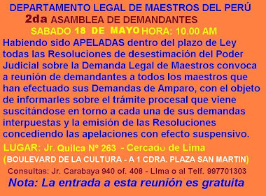 SABADO 18 DE MAYO HORA: 10.00 AM 2DA. ASAMBLEA DE DEMANDANTES