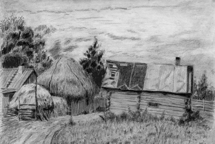 Bu resmimiz bir köy evinden ufak bir köy evi ve etrafında ahırı