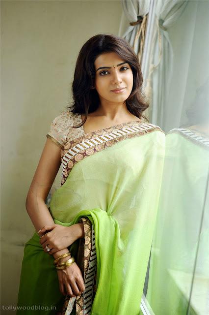 Samantha Ruth Prabhu beautiful  Green Saree Lovely Pics