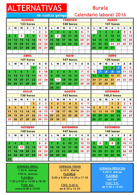 Burela. Calendario laboral 2016