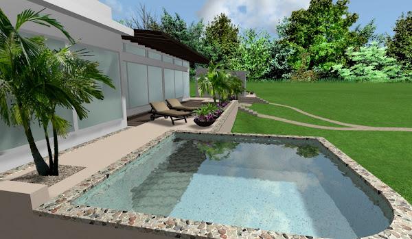 diseño de dos casas modernas minimalistas con piscina, deck de madera compuesta y pergolas en las terrazas