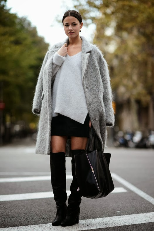 Grey Coat with Celine Handbag and Black Skirt Over the Knee Boots