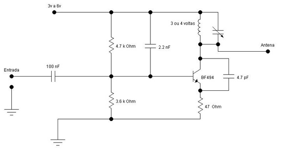 Circuito Simples : Circuitos na pratica transmissor de fm