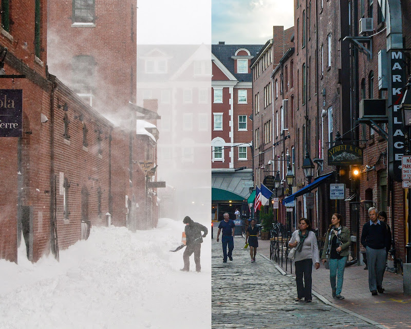 Winter and Summer on Wharf Street in Portland, Maine. Photo by Corey Templeton.