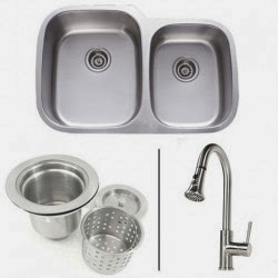 32 Inch Stainless Steel Double Bowl Kitchen Sink and Lead Free Faucet Combo - 18 Gauge