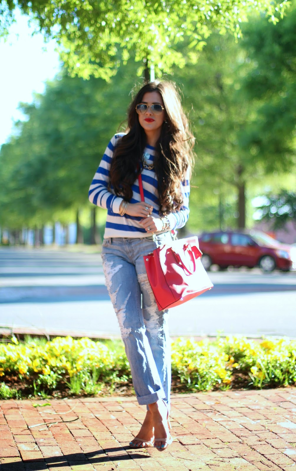 www.TheSweetestthingBlog.com, Emily Gemma, boyfriend jeans, destroyed boyfriend jeans, dittos boyfriend jeans, ripped boyfriend jeans, ripped denim, nordstrom ripped denim, striped sweater, spring sweathers, rayban aviators, tory burch handbag, red tory burch robinson tote, red tory burch purse, micheal kors runway watch, stila lipstick in beso, nude zara sandals, nude strappy sandals, gold arm party, gold bangles, red lips, long hair for brunettes, bellami hair extension, mocha chino hair extensions, summer fashion 2014, pinterest summer outfits 2014, how to wear boyfriend jeans in summer, how to wear boyfriend jeans with sweaters, love always couture monogram necklace