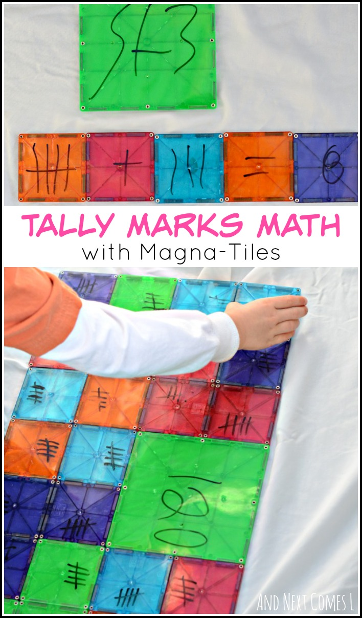 Exploring tally marks: elementary math with Magna-Tiles from And Next Comes L