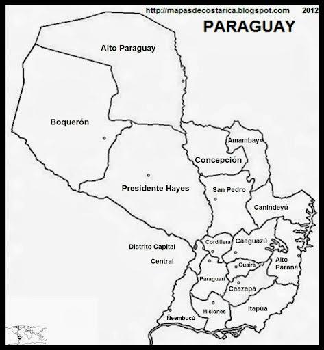 mapa paraguay colorear