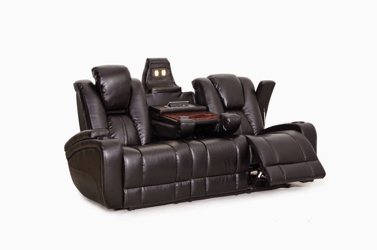 Cheap reclining sofas sale amalfi reclining leather sofa with drop down table and massage Loveseats that recline