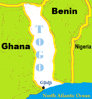Glidji located in the Southern most region of Togo