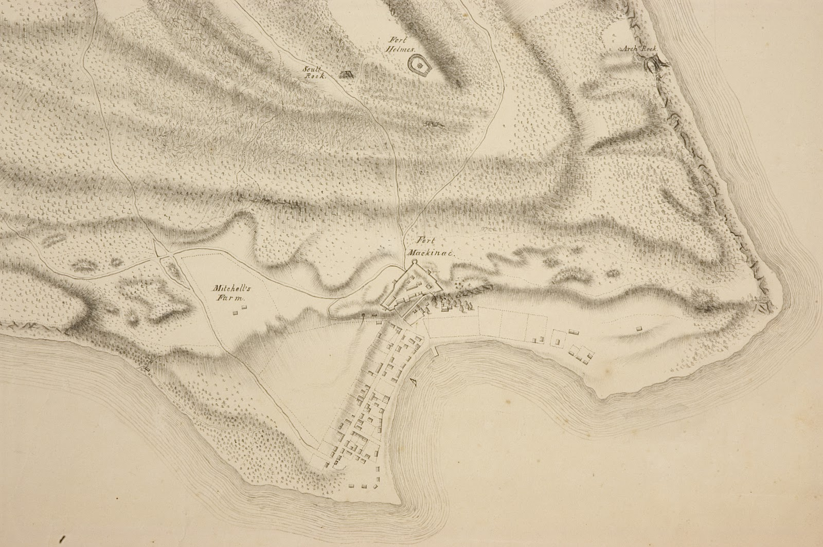 Southern Portion Of Eveleth S Map Of The Island Of Michilimackinac From Theclementslibrary Blogspot Com