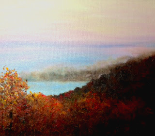 Morning Mist, an oil painting of the sun burning off the morning mist.
