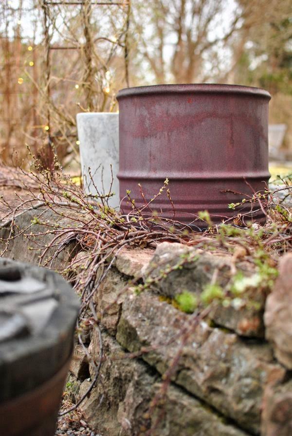 mur ölandssten sandkörsbär rostig tunna trädgård