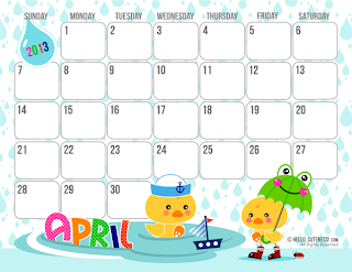 Butterfly Kisses of Love: *Free Cute April 2013 Printable Calendar!*