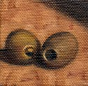 Small oil painting of two pitted olives.