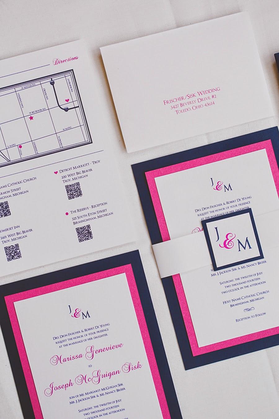 Vivian Elle Invitations: Marissa and Joseph\'s Hot Pink and Navy ...
