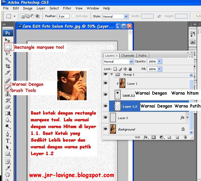Foto Tutorial Cara Edit Foto Dalam Foto - Rectangle Marquee Tool