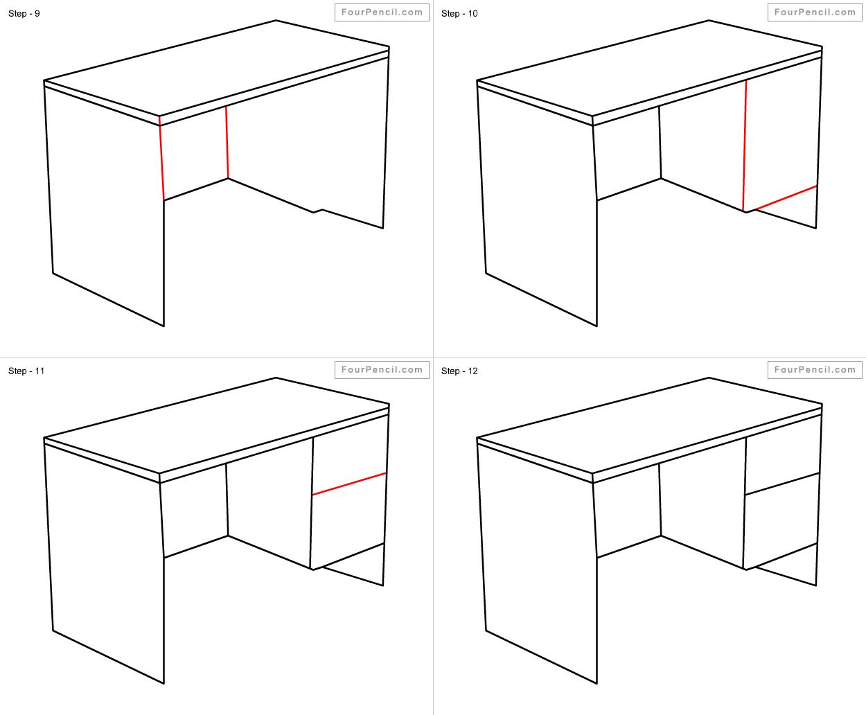 Slide 1 - easy steps desk drawing how to draw Slide 2 - Drawing desk