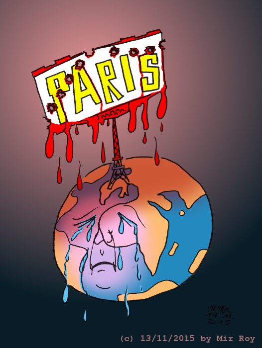Cartoon of the Terrorist attack in Paris on November 13, 2015