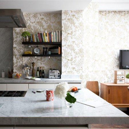 Decoraci n de interiores decora con papel tapiz tu cocina - Papel para paredes de cocina ...