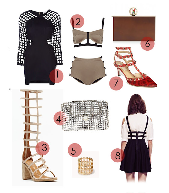 cage trend, cage bikini, chanel cage earrings, strappy sandals, cade bodest, cage dress, cade leather skirt, cage top, cage bracelet, where to buy and how to get the uk cage fashion trend, styling, Valentino caged heels, nasty gal cage trend, cage dahlia skirt, caged bag
