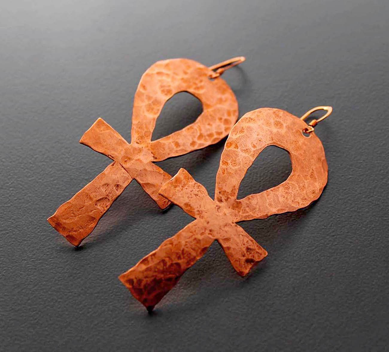 large hammered copper ankh earrings