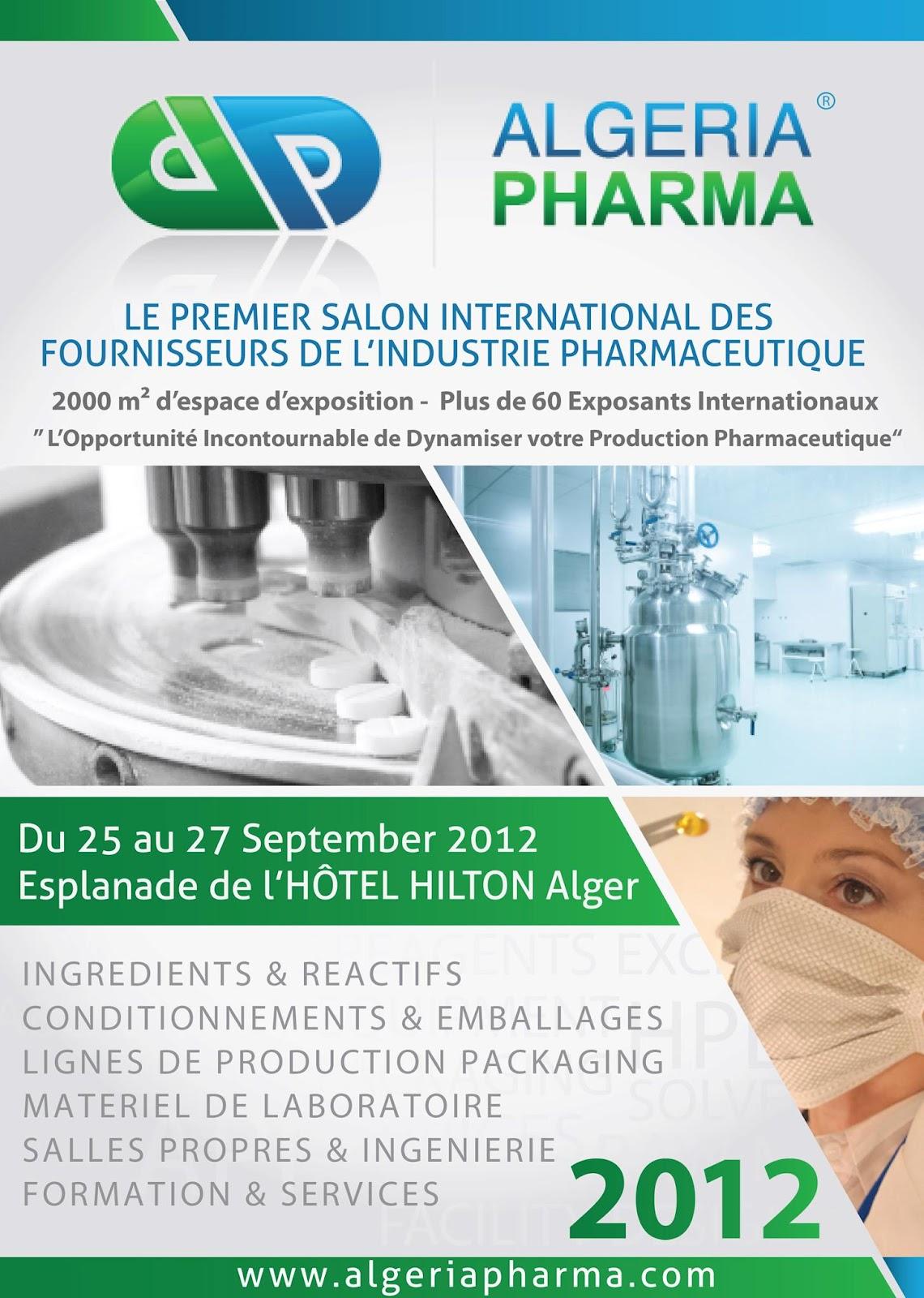 Du 25 au 27 septembre 2012 esplanade de l 39 hotel hilton alger for Salon pharmaceutique
