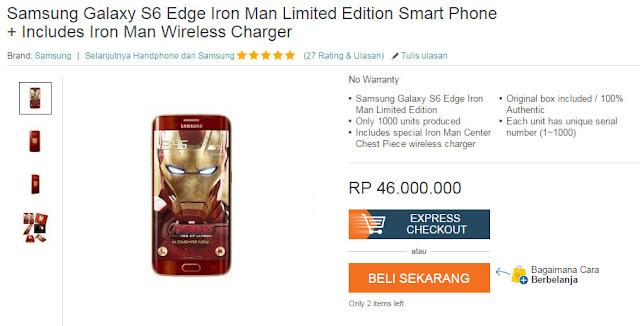 Samsung Galaxy S6 Edge edisi Iron Man sudah tersedia di pasar Indonesia, harga Rp. 45 juta