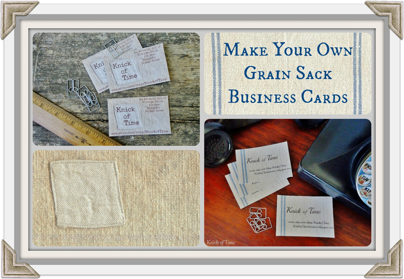 Grain Sack Business Cards & Price Tags - Knick of Time