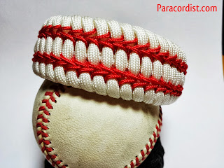 Curve Ball Baseball Stitched Paracord Ladder Rack Survival Bracelet
