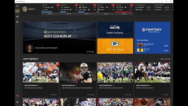 NFL app for Windows
