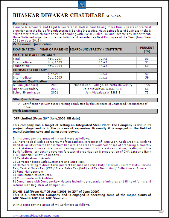 Excellent Resume Format Sample in word doc. - Chartered ...