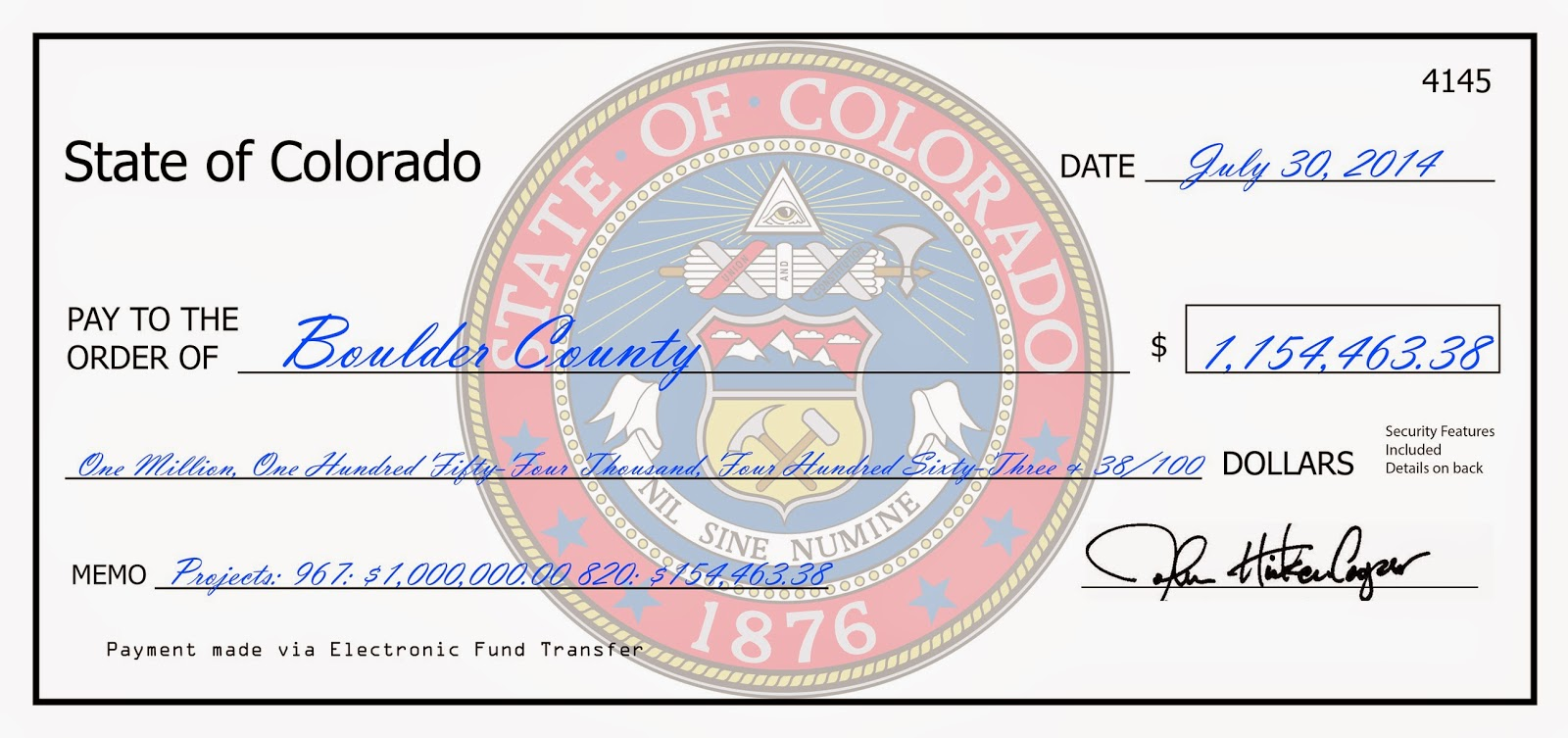 Check delivered to Boulder county for public assistance reimbursements.