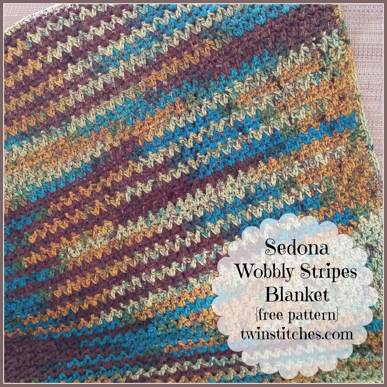 Charisma Yarn Baby Blanket: Tw-In Stitches: Sedona Wobbly Stripes Blanket