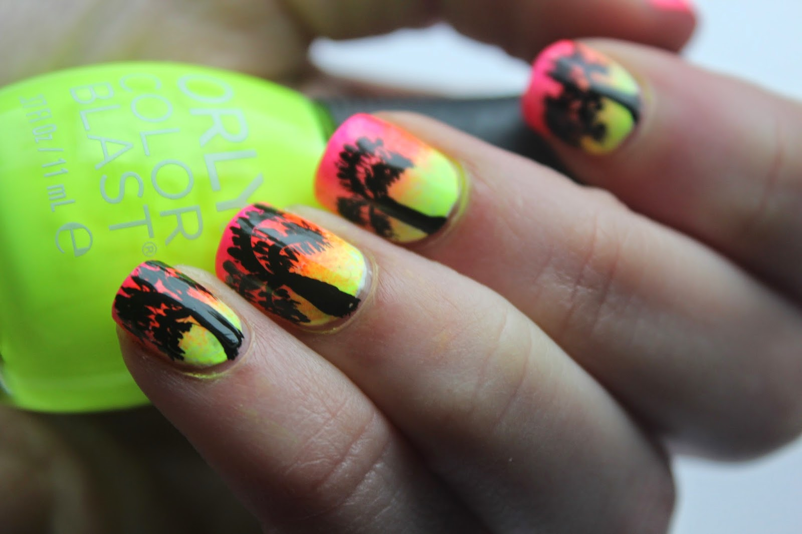 Neon Ombre and Tropical Palm Tree Nail Art! | beauty sweet | Beauty ...