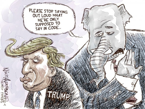 GOP elephant to Donald Trump:  Stop saying out loud what we're supposed to say in code.
