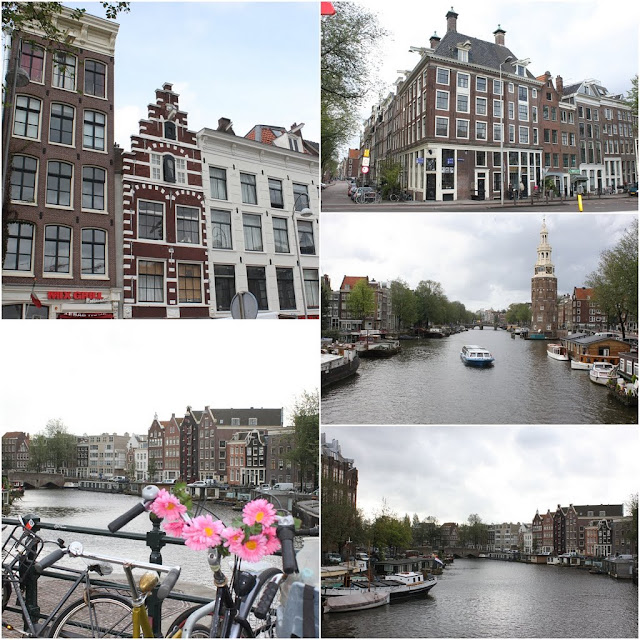 Unique architectural design and the famous Prinsengracht  canal in Amsterdam, Netherlands