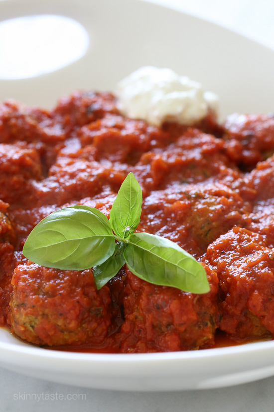 """Zucchini """"Meatballs"""" – delicious meatless zucchini meatballs baked and simmered in Pomodoro Sauce."""