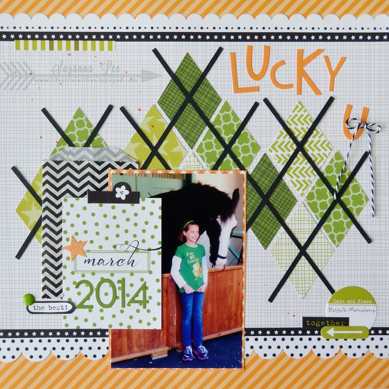 Lucky You St. Patrick's Day Scrapbook Page by Suzana Lee featuring 17turtles Digital Cut Files