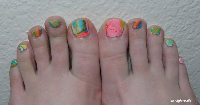 Water Marble Pedicure Nail Fail