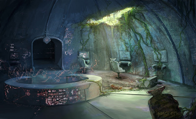 the art of jason haniuk illustration jungle wrecked spaceship interior. Black Bedroom Furniture Sets. Home Design Ideas