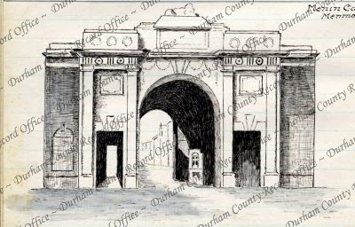Sketch made by Reverend JAG Birch, of a view of the Menin Gate Memorial, Ypres, Belgium, c.1927 (D/DLI 7/63/3(87))