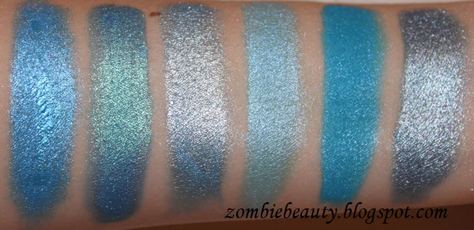 Medusa Makeup Eye Dust Collection part 2. From left to right: Planet Earth, New Wave, Liquid Sky, Ocean Drive, Blue Balls, Atlantis.