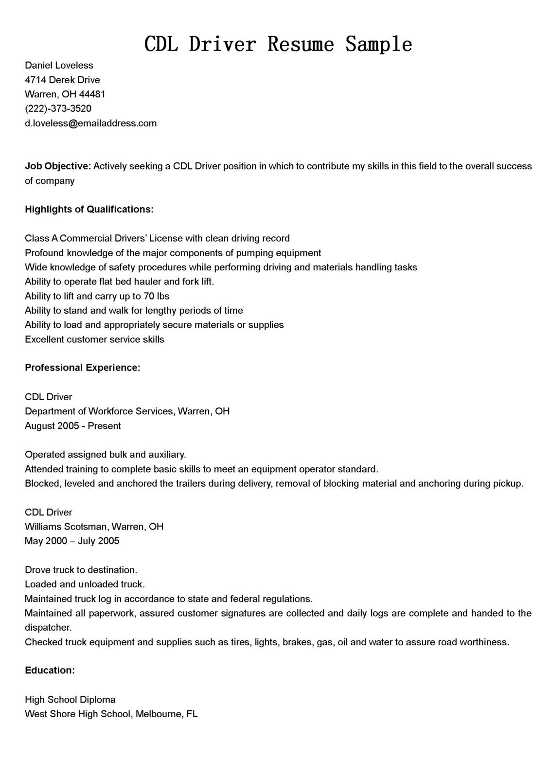 Sample Bus Driver Resume | Resume CV Cover Letter