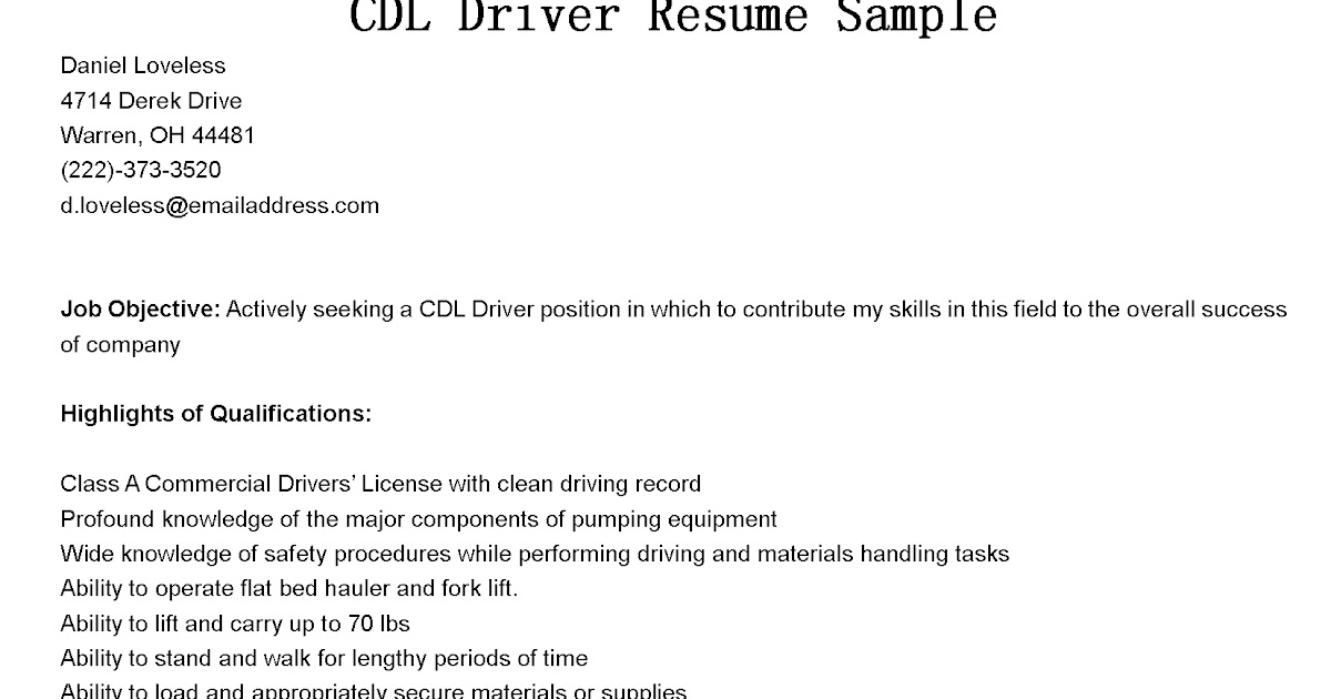 Driver Resumes CDL Driver Resume Sample