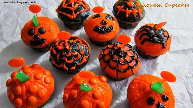 halloween special vanilla cupcakes /vanilla cupcakes decorated on halloween theme