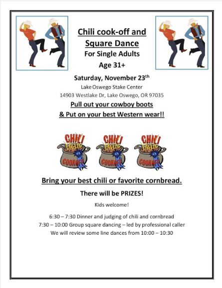 Nov 23rd Chili Cook-off and Square Dance