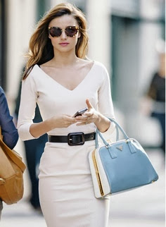 half white dress with hand bag