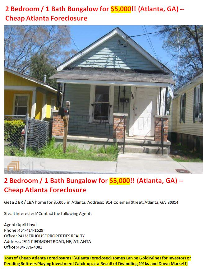 Cheap Atlanta Foreclosures Leads On Foreclosed Atlanta Homes Under 50k