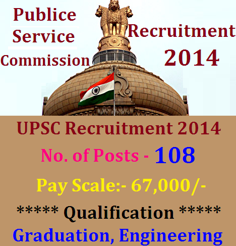 UPSC Recruitment 2014 - 108 Posts